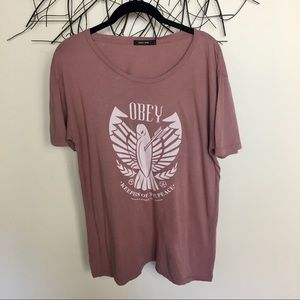 OBEY pink bird t shirt. Medium